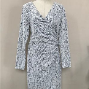 White/Black LAUREN RALPH LAUREN Faux Wrap Dress 12